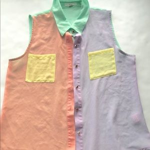 Colorblock pastel tank top mine size small